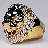 Lion Head Micro Pave Rhinestone Iced Out Bling Mens Ring Gold Filled Titanium Stainless Steel Rings for Men Jewelry A2BA4M24JZM2AM (Gold, 9)
