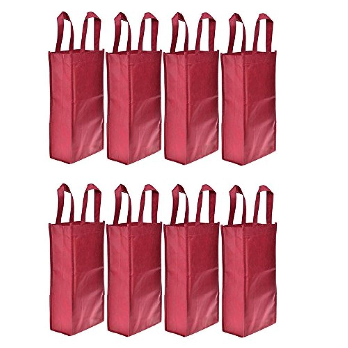 Homanda?Pack of 8 Red Non-Woven 2-Bottle Wine Tote Bag Holder, Reusable Gift Bag