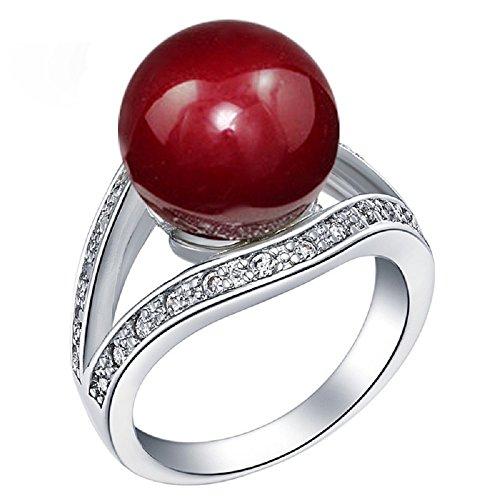 Uloveido Halo-Perlenring Silberfarbe - 12 mm Simulierter Süßwasser-Zuchtperlen-Solitär-Ring Weißgoldplattierter Perlenschmuck Größe 54 (17.2) J382-7