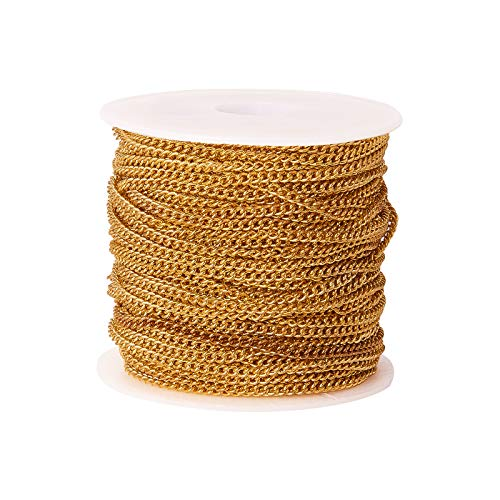 Airssory 32.8 Ft(10 Meters) Golden Plated Brass Flat Oval Twist Link Curb Chains Unwelded with Spool for Jewelry Making - 3.5x3mm