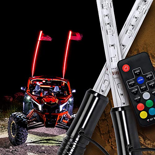 2pc 4ft LED Whip Lights for UTV ATV [21 Modes] [20 Colors] [RF Wireless Remote] [Weatherproof] [USA Flag] LED Lighted Whips Antenna for RZR Can-Am Polaris UTV ATV Accessories