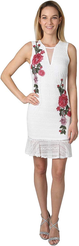 Bebe Womens Embroidered Ruffle Hem Dress Dress