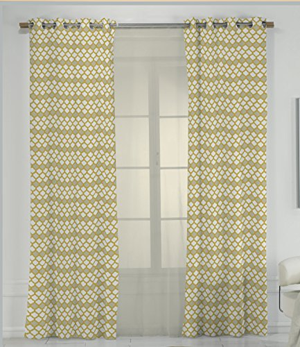 RIOMA Saten Cortina, Tela, Estampado Amarillo, 270 x 140 cm