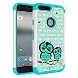 Pixel XL Case, Vfunn Design Rhinestone Hybrid PC & Silicone Protective Case Cover for Google Pixel XL 1st Gen (Owl)