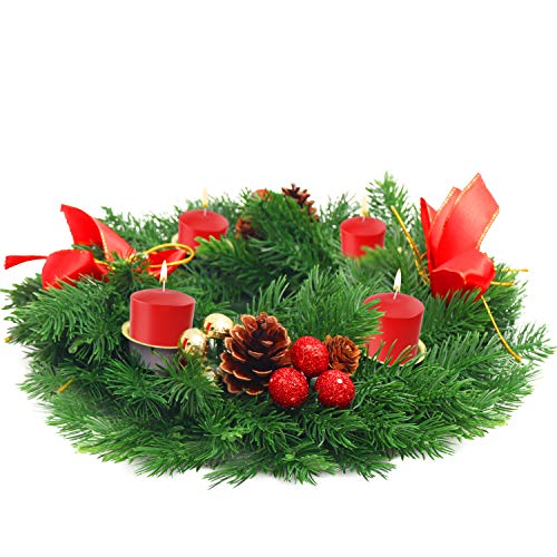 BELLE VOUS Corona Navidad Velas Adviento - Corona Adorno Navideño 30 cm de Diámetro Artificial Posavelas con Conos de Pino y Bayas Rojas con Lazos Centro Mesa Navidad Hogar Decoraciones de Navidad