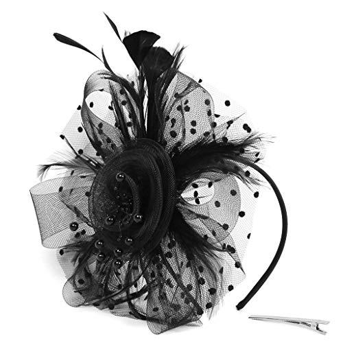 MIRRAY Flapper Great Gatsby Stirnband Pearl Charleston Rockabilly 1920er Sommer Hochzeit Party Braut Kopfschmuck YP Schwarz