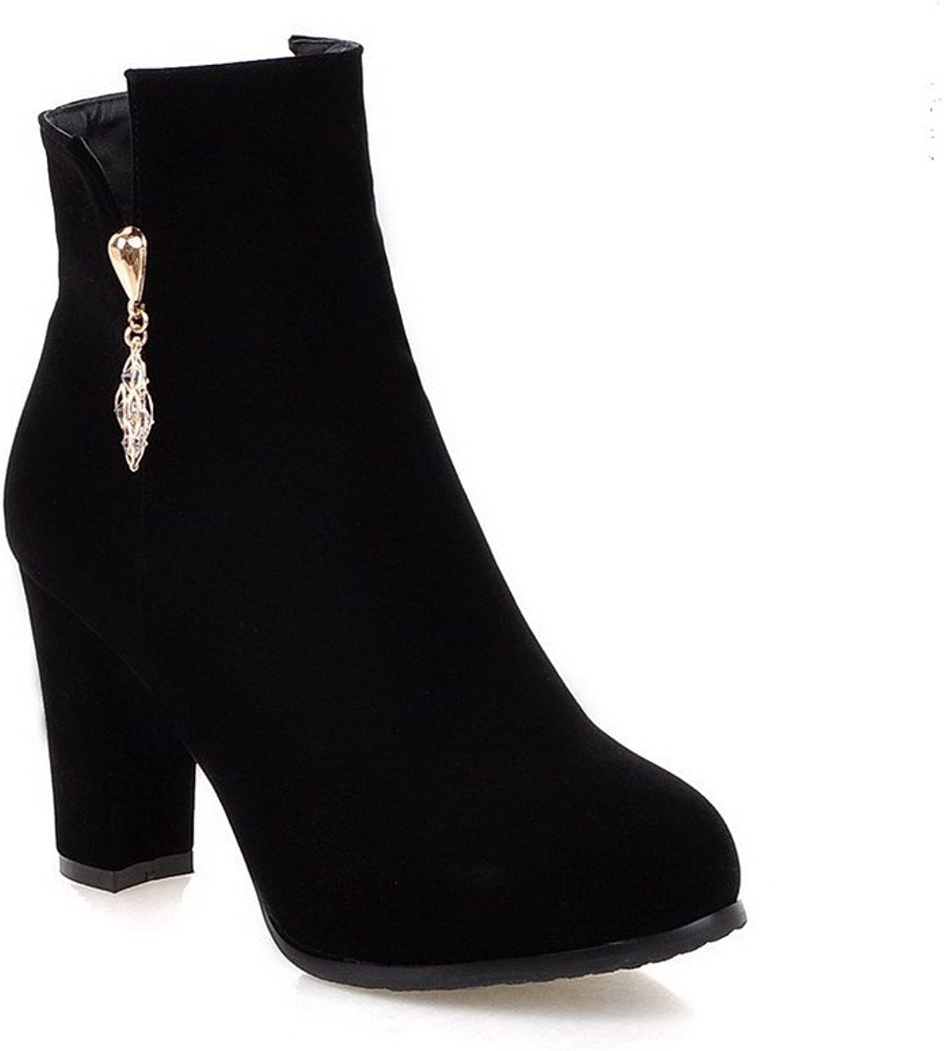 WeenFashion Women's Zipper Round Closed Toe High-Heels Imitated Suede Low-top Boots
