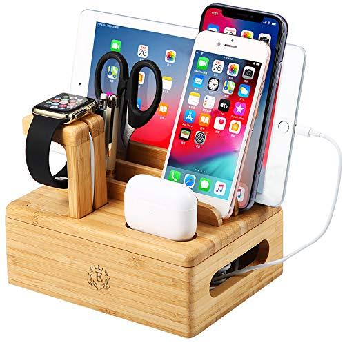 epzoee 8 in1 竹製充電スタンドは7つのデバイスと互換性があり、AirPods/Apple Watch/iPad/iPhone/Galaxy/Androidを同時に充電できます