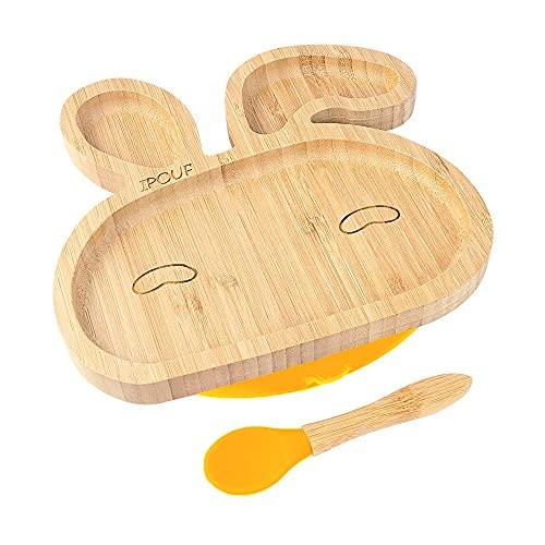 Gobesty Babygeschirr Set, Babyteller aus Bambus mit rutschfestem Saugnapf Passendem Baby-Löffel Babyteller Plate Bowl (Es gibt zwei Stile)