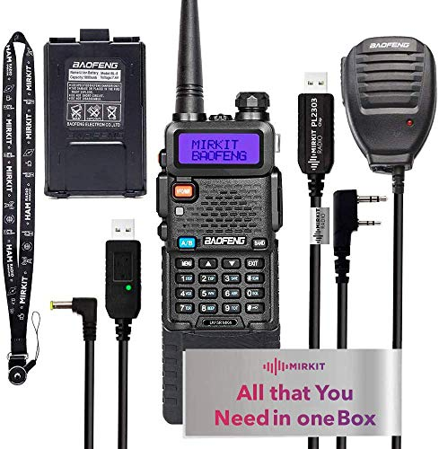 Extended Ham Radio Handheld Starter Kit Mirkit Baofeng Radio UV-5R MK4 8 Watt MP Max Power with 3800 mAh, Handheld Mic, Baofeng Programming Cable and Software - Extra Pack