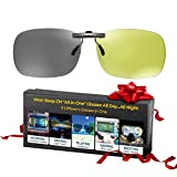 Clip On All-in-One Blue Light Blocking + Photochromic Sunglasses + Polarized Night Driving Glasses + Migraine Glasses - Women & Men See Better Day & Night - Sleep Better - Stop Eye Pain & Headaches