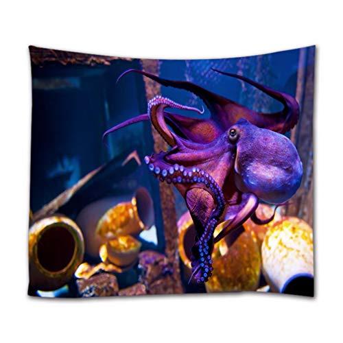 A.Monamour Wandteppiche Lila Krake In Blue Planet National Aquarium In Kopenhagen Dänemark Unterwasser Szene Druck Textil Stoff Wandbehang Tapisserie Vorhänge Tischdecke Bettdecke Strandtuch 180x230cm