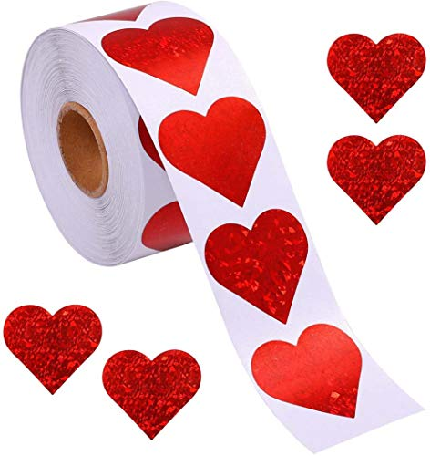 Heart Stickers, 500pcs Red Heart Shape Thank You Stickers,25mm Valentine's Day Adhesive Label for Envelopes Baking Shopping Merchandise Bags Wedding Birthday Baby Shower Party Favor, 1 Roll