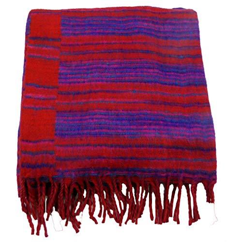 Yak Schal Stola Decke Kuscheldecke Wendeschal Schultertuch Stola Schaltuch Wolldecke Yakwolle Wolle Wollschal 205x88 cm (Rot)