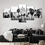 ADKMC 5 Piece Canvas Wall Art for Living Room Decorations Prints Black California Los Angeles Skyline Landscape Poster Modern Home Decor The Room Stretched and Framed Ready to Hang Artwork (150x80cm)