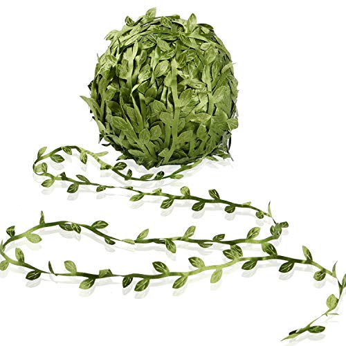 Artificial Vine Fake Leaves 265 Feet Artificial Leaf Garlands Fake Hanging Plants Fake Foliage Garland DIY for Wreath Party Wedding Wall Crafts Decor (Green)