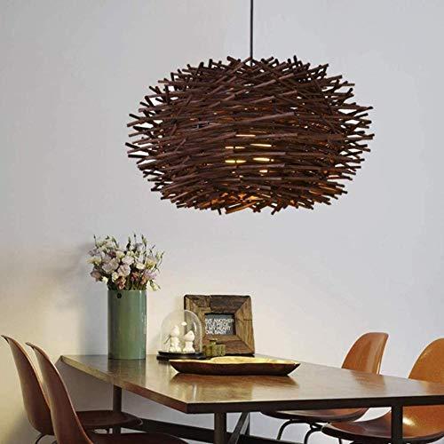 Lámpara colgante de bambú trenzada Luz de ratán Colgante Lámpara de nido de pájaro ajustable Comedor Dormitorio Luces de comedor Linterna redonda Café-30 centimetros_marrón