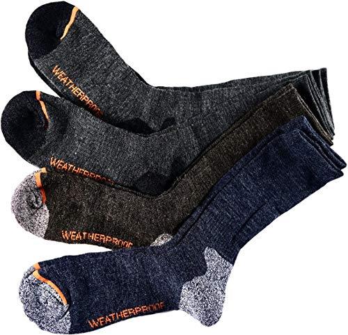 Men's Weatherproof Wool Blend All Purpose Outdoor Crew Socks 4 Pack