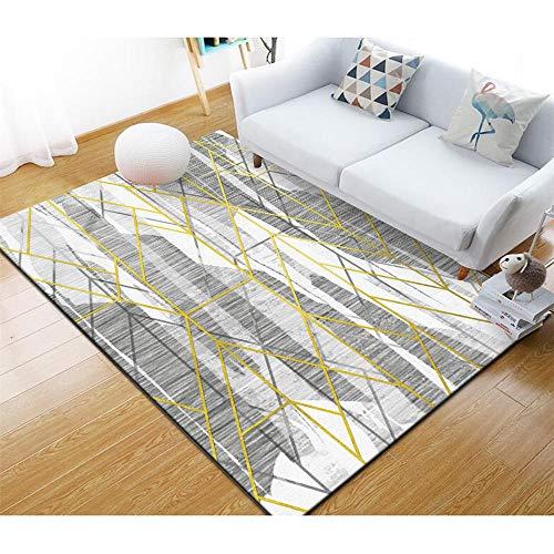 Kunsen Alfombra para niños alfombras habitacion Bebe Alfombra Sala de Estar Gris geométrico Moderno Antideslizante Suave Resistente al Desgaste moqueta 40X60CM