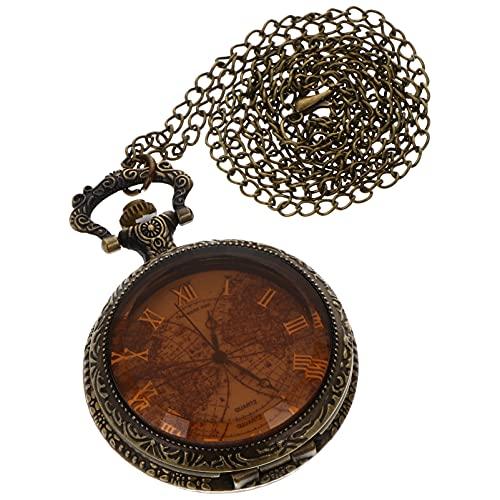 ibasenice Reloj de Bolsillo Retro de Bronce Antiguo con Patrón de Mapa del Mundo de Cadena Reloj de Bolsillo de Cuarzo Antiguo Regalo del Día del Padre de Los Profesores