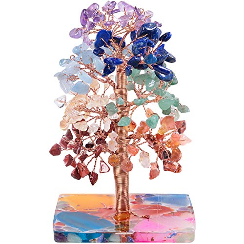 Nupuyai 7 Chakra Healing Crystal Money Tree for Home Office Decor, Chip Stones Tree Good Luck Fengshui Ornaments Colourful Resin Base with Gift Box
