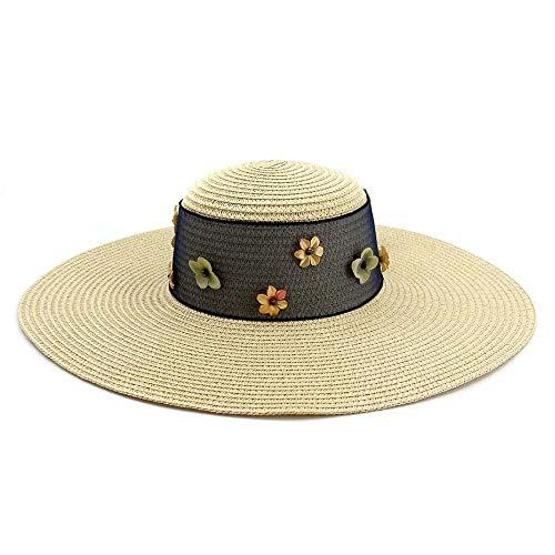 SUN-BING-MZ, - Sombrero de Playa para Mujer, versión Coreana de Vacaciones de Verano Salvaje, con Cinta para el Sol, el Viento y la Lluvia, Paja, Caqui, 56-58CM