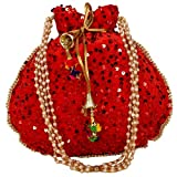 Indische ethnische Designer-börse mit Kordelzug, bestickt, Samt, Potli-Clutch, für Damen und Mädchen, Rot (rot), Small