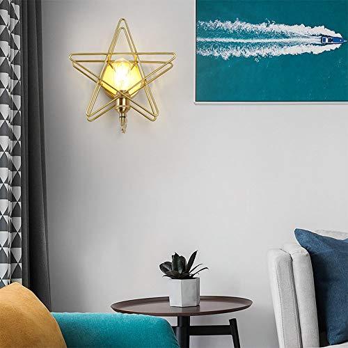 Stella Fella Lámpara de pared LED moderna minimalista totalmente cobre personalidad creativa de cinco puntas estrellas hotel corredor luces restaurante dormitorio Den balcón 1 * E27 (26 * 25 cm)