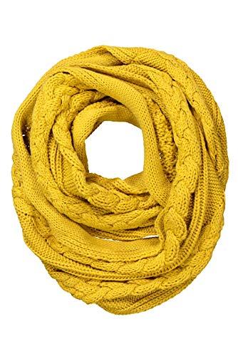 Ulla Popken Damen große Größen Übergrößen Plus Size Schal, Zopfmuster, weicher Strick helles senfgelb 1Size 751369 63-1