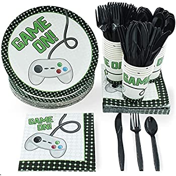 Vintage Video Game Party Bundle Includes Plates Napkins Cups and Cutlery  24 Guests,144 Pieces