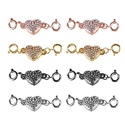 ShiftX4 8 piezas de cierre de aleación magnético para joyería, joyería en forma de corazón, para hacer joyas (4 colores)