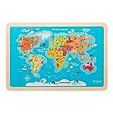 Oregon Scientific - SK301R SmartKids Magic Jigsaw, Puzzle con Doppia Mappa del Mondo a Cartoni Animati e Politica
