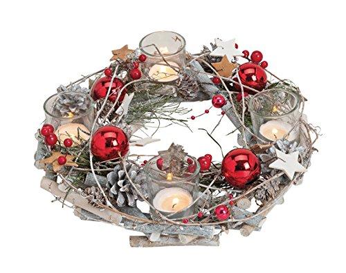 Teelichthalter Adventskranz aus Holz/Kunststoff Kugeln aus Glas, B8 x T29 cm