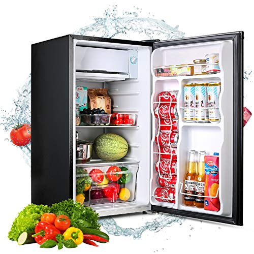 Compact Refrigerator, TACKLIFE 3.2 Cu.Ft Mini Fridge with Freezer, Low noise suitable for Bedroom, Office or Dorm, with Adjustable Remove Glass Shelves, Contemporary Classic Black