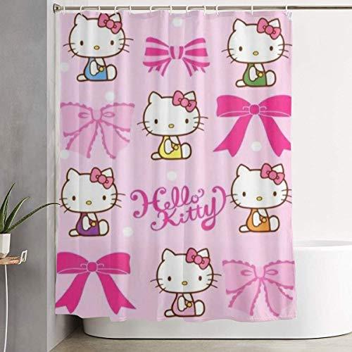 NHUXAYH Tenda da Doccia Hello Kittys Stampa Artistica, Collezione di Decorazioni per Il Bagno in Tessuto di Poliestere con Ganci 60X72 Pollici