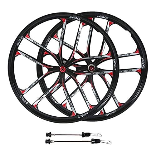 TYXTYX Ruedas de Bicicleta MTB, aleación de magnesio de 26 Pulgadas, Juegos de Ruedas de Ciclismo Integrados, Freno de Disco de llanta de 10 radios para Casete de 11 velocidades (Color: Negro)