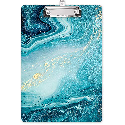 "Hongri Clipboard, Fashion Print Designfull Color Printing Clipboard for Nurses, Lawyers and Students Use, A4 Standard Size 8.5"" x 12.5"" Paperboard Clipboard Low Profile Clip, Teal Marble"