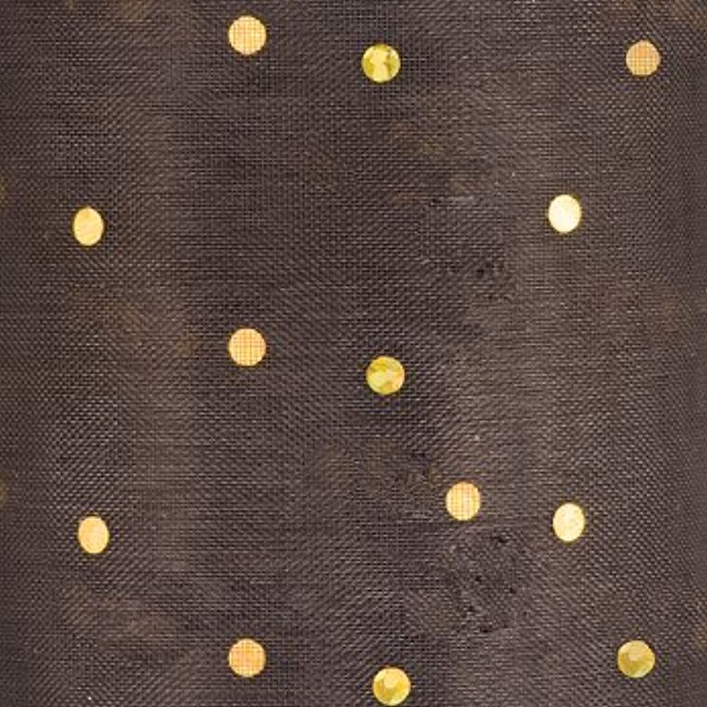 BROWN ORGANZA GLITTER DOT RIBBON - 50MM X 25Mt FROM CLUB GREEN