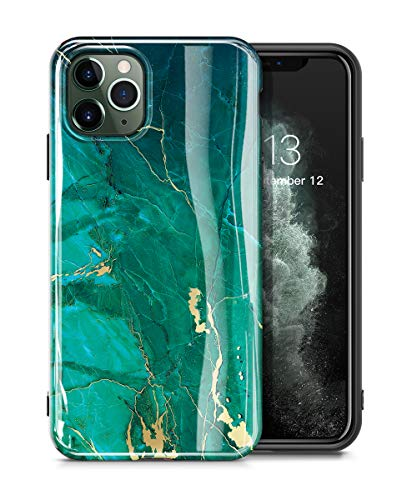 GVIEWIN Marble iPhone 11 Pro Max Case, Slim Thin Glossy Soft TPU Rubber Gel Phone Case Cover Compatible iPhone 11 Pro Max 6.5 Inch 2019 Release (Green/Gold)