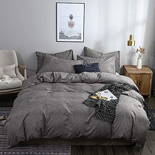 YIUA Juego de ropa de cama de color puro, 1 funda nórdica de 135 x 200 cm y 2 fundas de almohada de 200 x 200 cm, color gris claro.