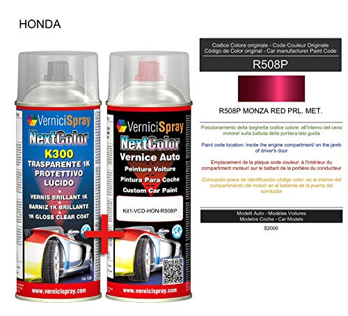 Kit Spray Pintura Coche Aerosol R508P MONZA RED PRL. MET. - Kit de retoque de pintura carrocería en spray 400 ml producido por VerniciSpray