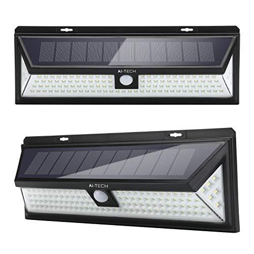 Luci Solari Esterno AITECH Lampada Solare 118 Led Sensore Movimento 270° Illuminazione 3 Modalità 1200LM IP65 Impermeabile Luce Solare led Esterno per Giardino -2 Pezzi