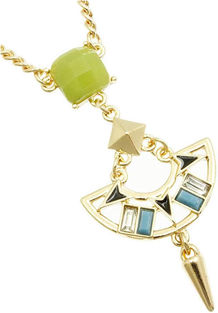 Fashion Jewelry ~ Green Faceted Homaica Stone Cutout Metal Spike Pendant Necklace for Women Teens Girlfriends Birthday Gifts