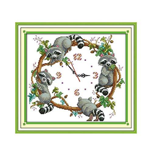 WxBAo Recién llegado Joy Sunday reloj de pared DIY lindo mapaches Kit de punto de cruz manualidades con aguja Kit de punto de cruz bordado costura
