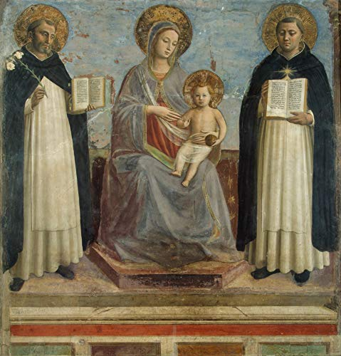 """Fra Angelico The Virgin and Child with Saints Dominic and Thomas Aquinas 1424-1430 The State Hermitage Museum St Petersburg 24"""" x 23"""" Fine Art Giclee Canvas Print (Unframed) Reproduction"""