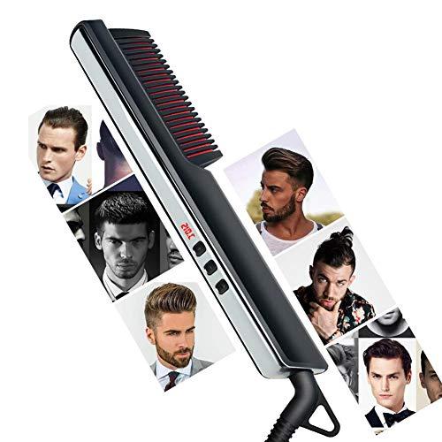 HNKK Alisador de barba Peine para alisar el cabello Pantalla LED Peine para alisar el cabello de iones negativos Alisado de volumen doméstico Doble uso Negro