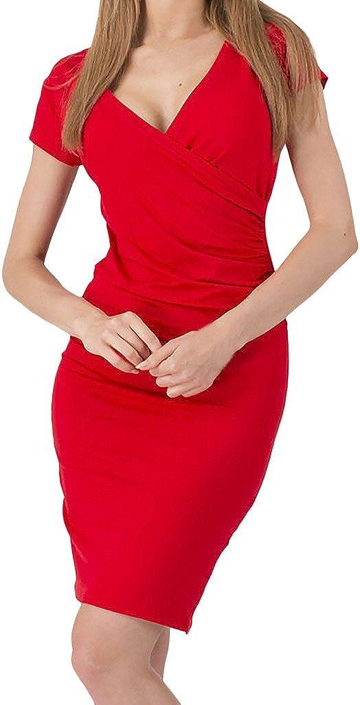 ZANLICE Women's High Waist Cap Sleeve V Neck Pleats Bodycon Dress