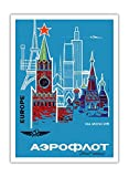 Pacifica Island Art Europa a través de Moscú–Aeroflot Ruso (aerolínea)–Rusia National de Vuelo línea–Vintage Retro Vuelo Sociedad c.1968–Póster de Viaje de impresión