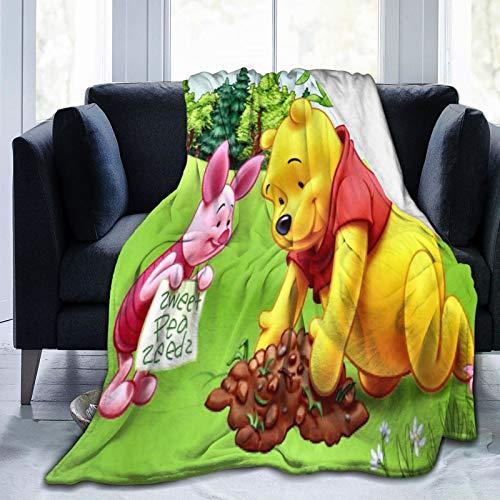 Winnie The Pooh - Manta de forro polar suave y cómoda para sofá, cama individual, cálida y gruesa, para todas las estaciones para adultos y niños, 125 x 150 cm