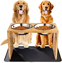Yangbaga Elevated Dog Bowls, Raised Bamboo Dog Feeding Station with 2 Bowls, Comes with a Nonslip Silicone Pad, Easy to Clean … (Medium-Large)